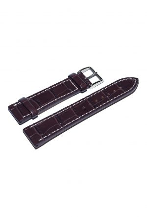 Redbrown Calfskin watch strap with croco-optics